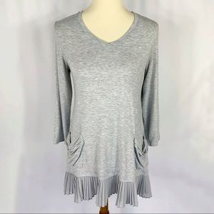 LOGO Lori Goldstein 3/4 Sleeve Pleated Hem Tunic S